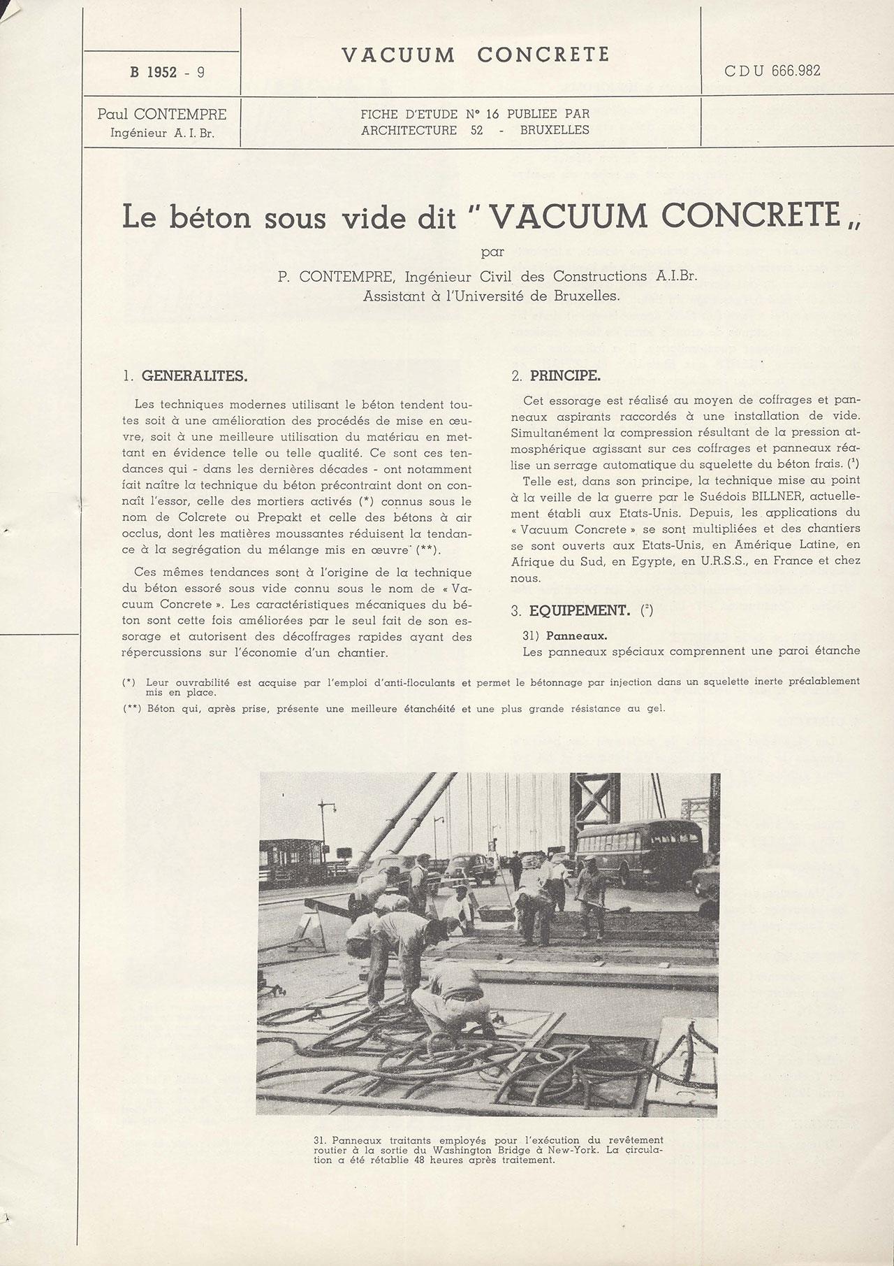 Le béton sous vide dit «vacuum concrete»