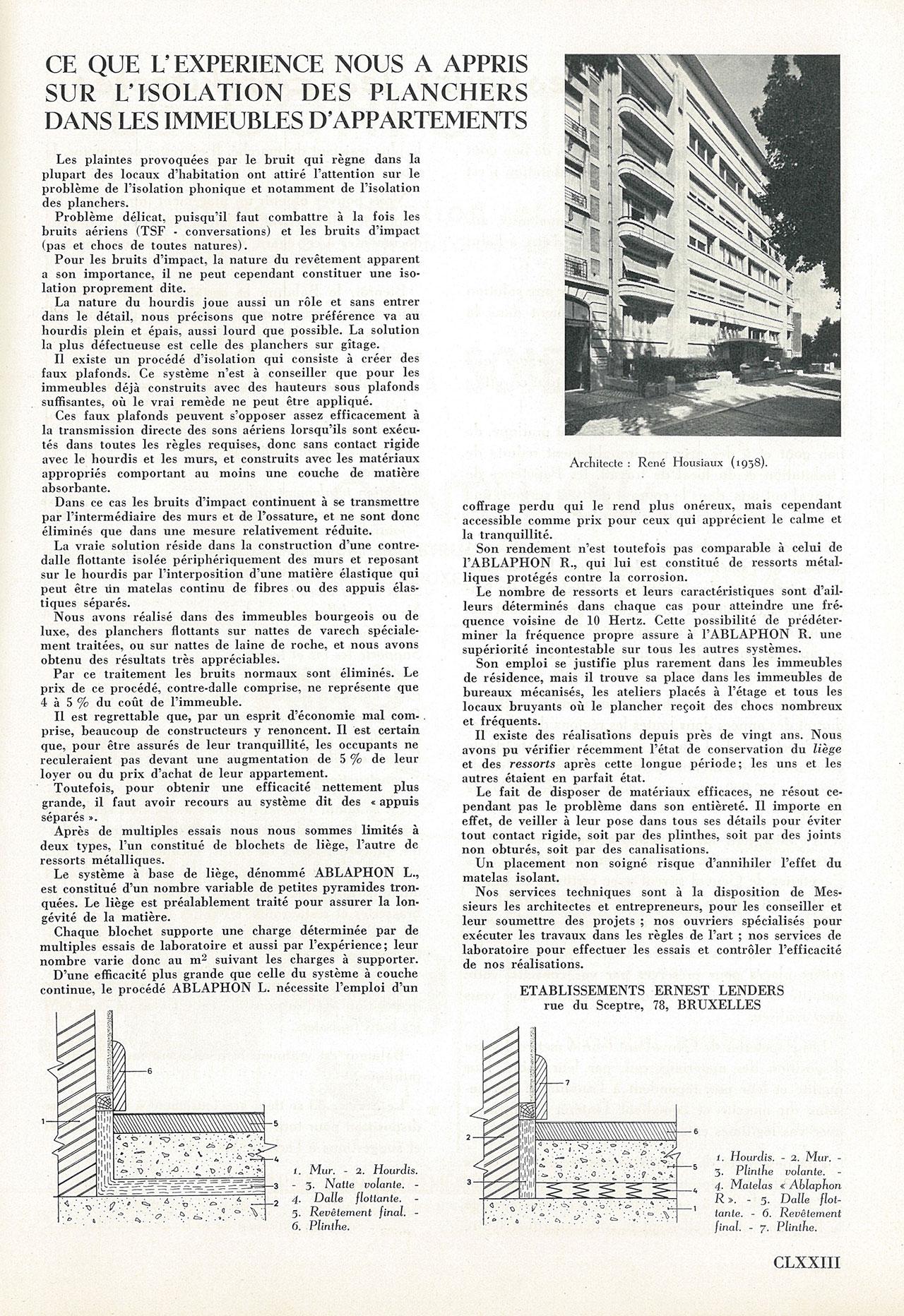 Ce que l'expérience nous a appris sur l'isolation des planchers dans les immeubles d'appartements