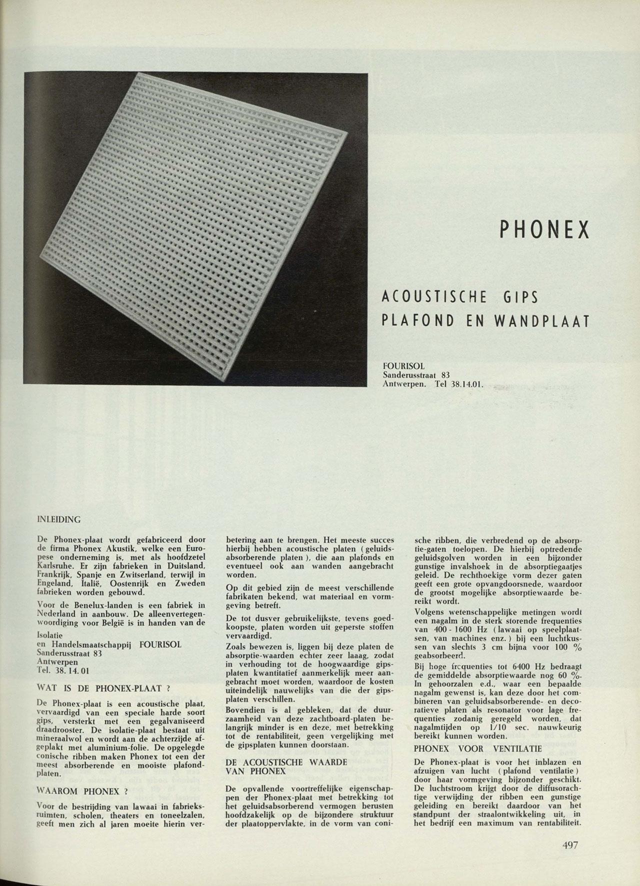 Phonex, acoustische gips plafond en wandplaat