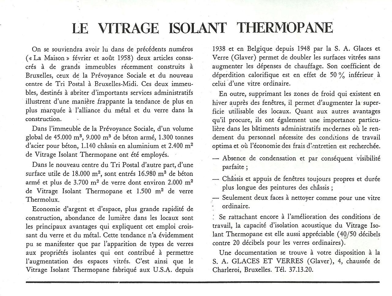 Le vitrage isolant Thermopane