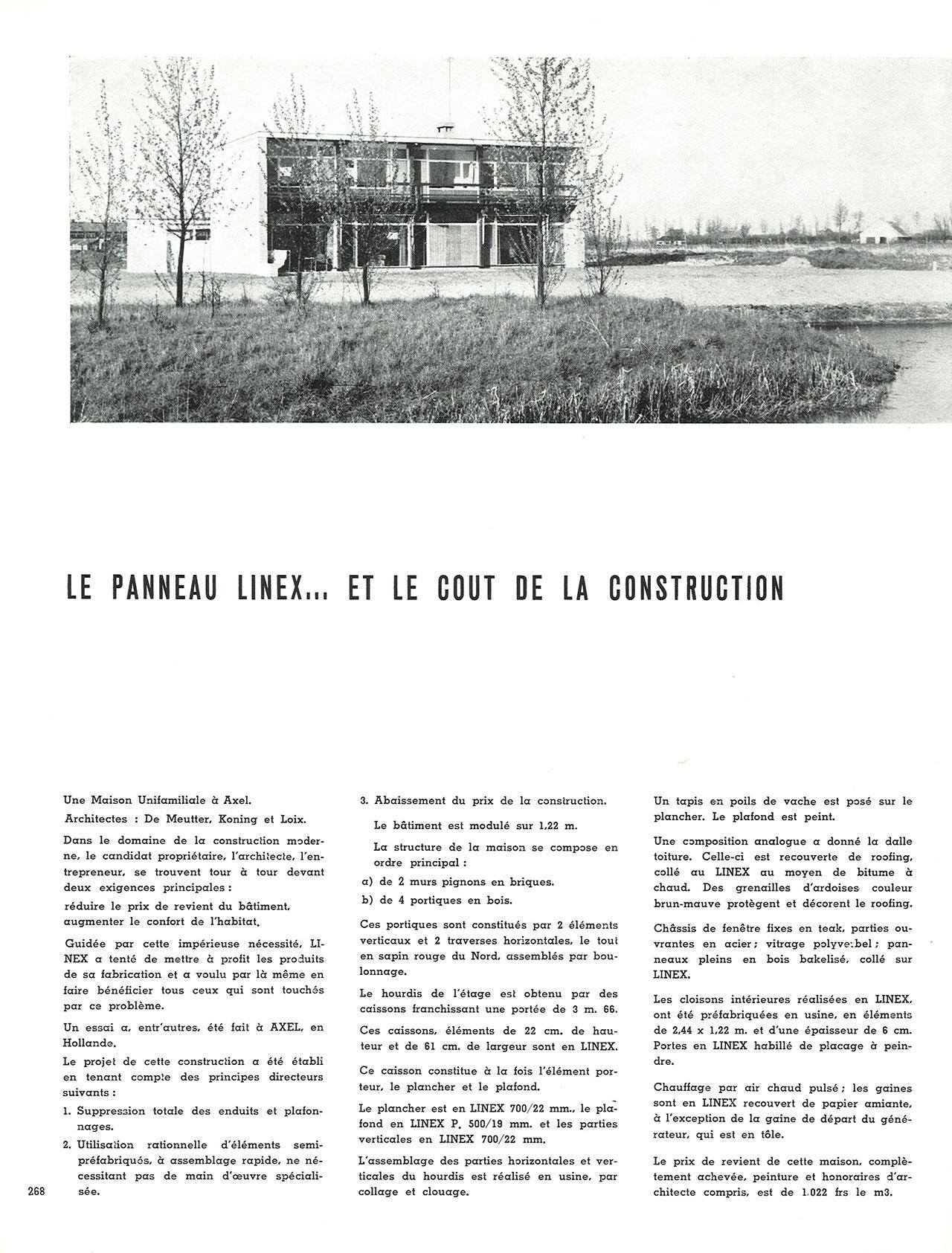Le panneau Linex… et le coût de la construction