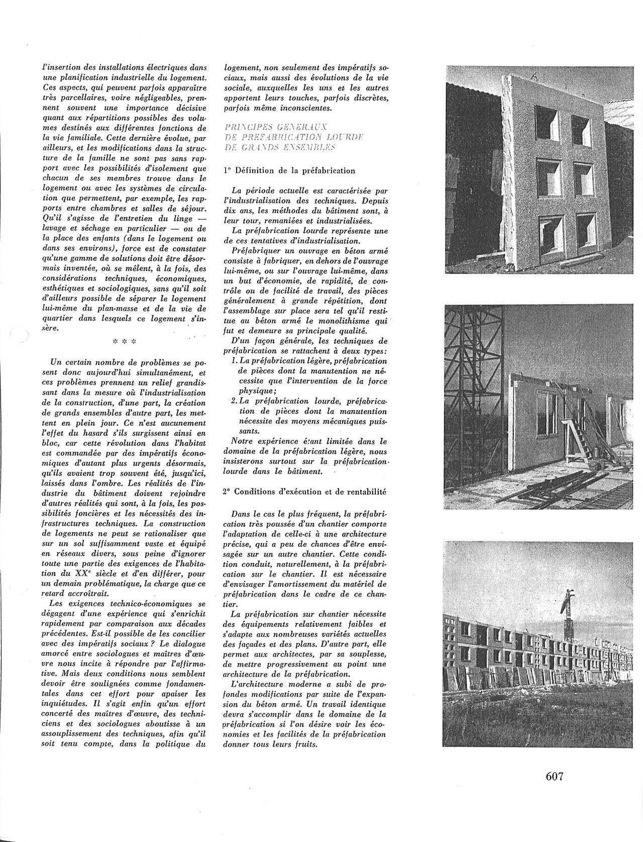 Problèmes sociologiques et techniques du bâtiment
