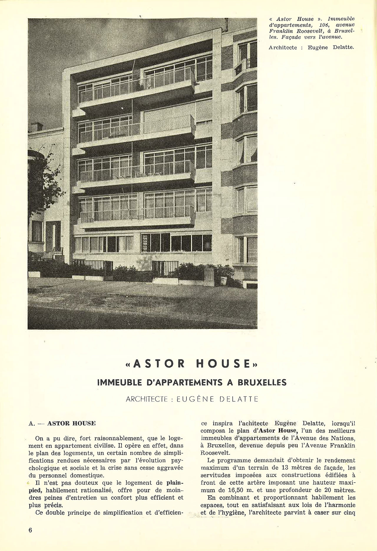 «Astor House» immeuble d'appartements à Bruxelles