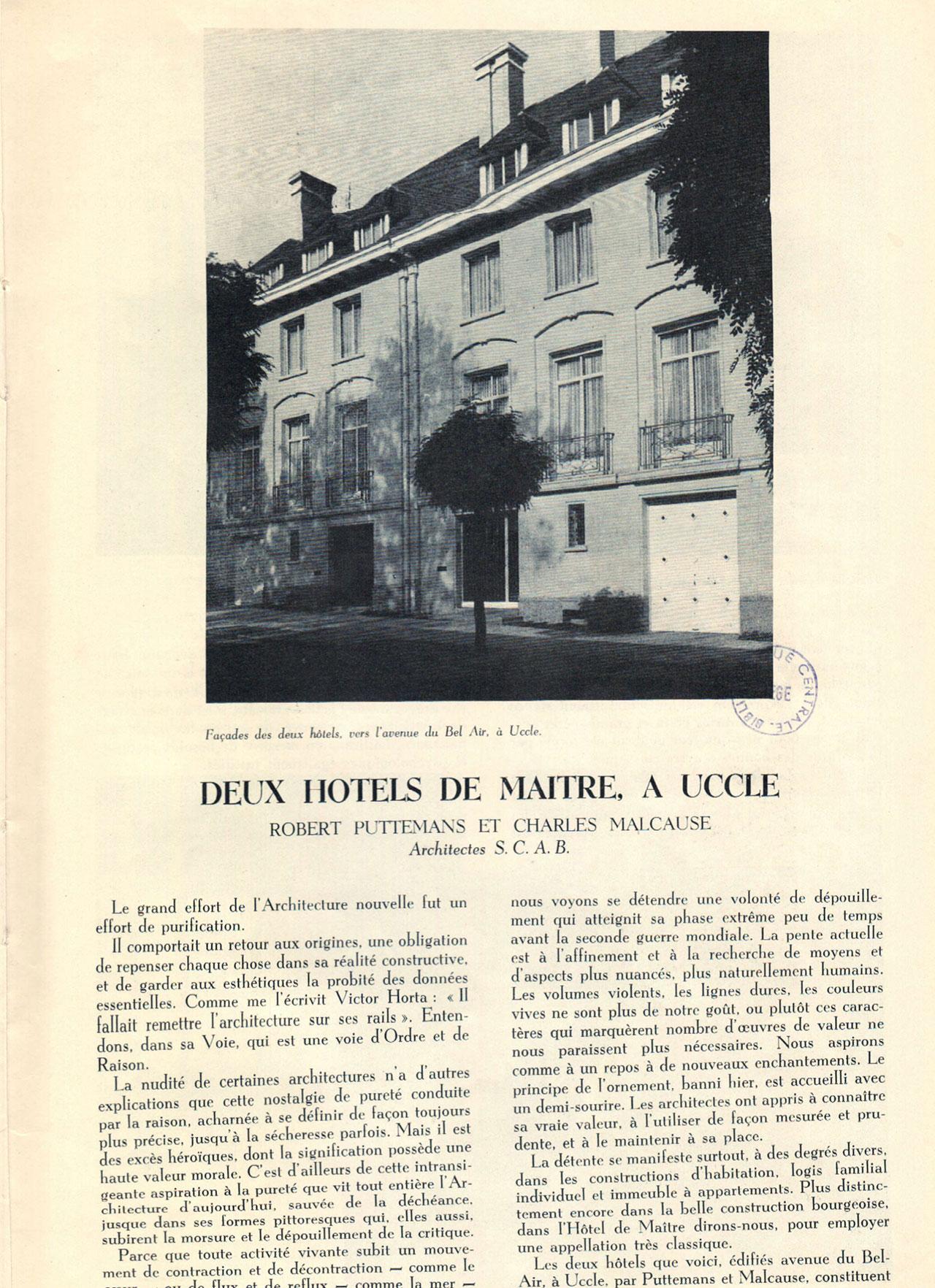 Deux hôtels de maître à Uccle