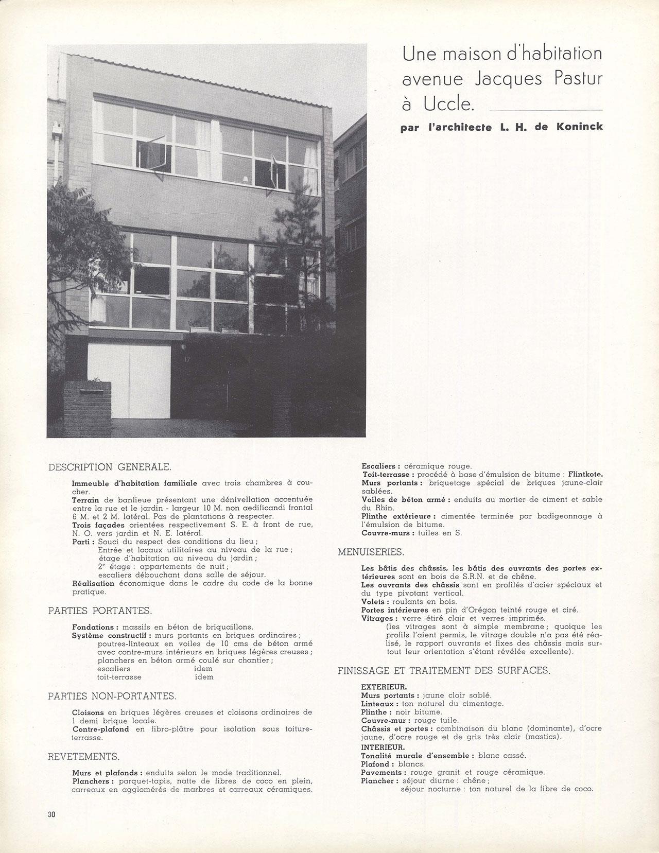 Une maison d'habitation avenue Jacques Pastur à Uccle