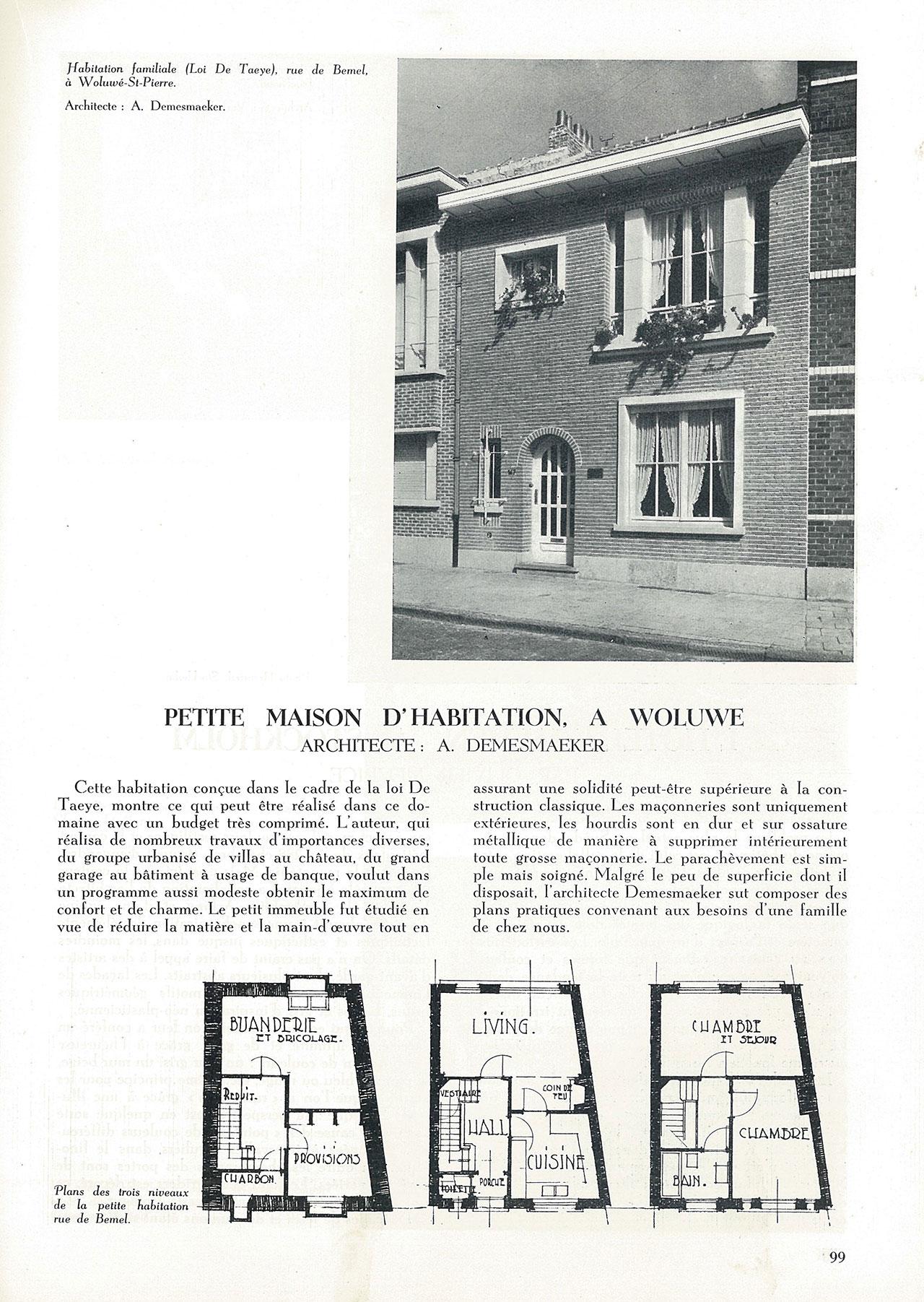 Petite maison d'habitation, à Woluwé