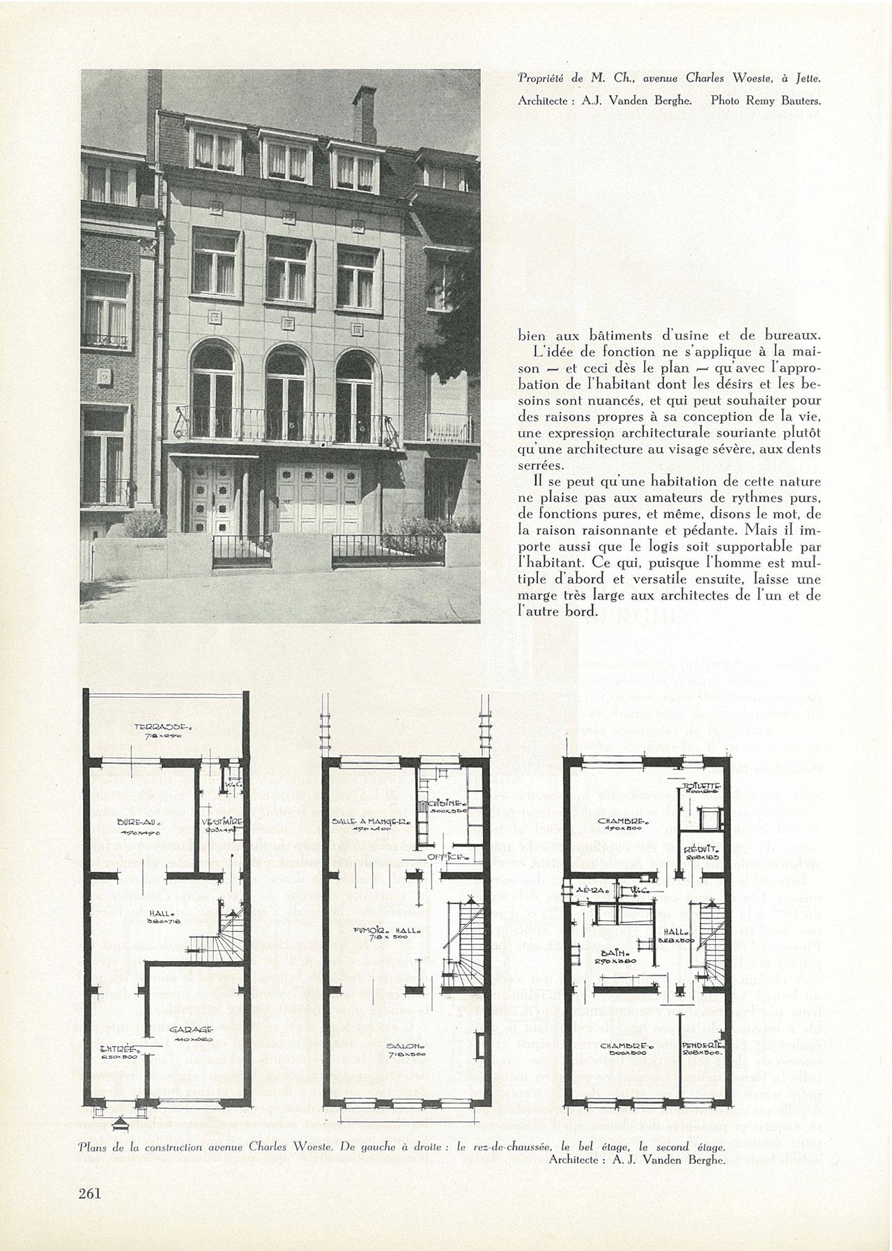 Quelques habitations récentes de l'architecte A.J. Vanden Berghe