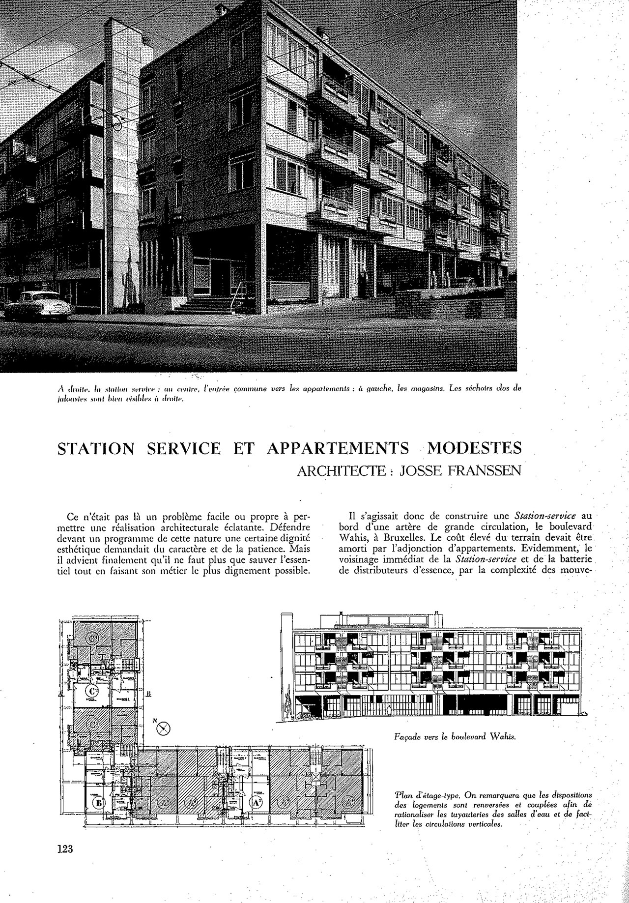 Station service et appartements modestes