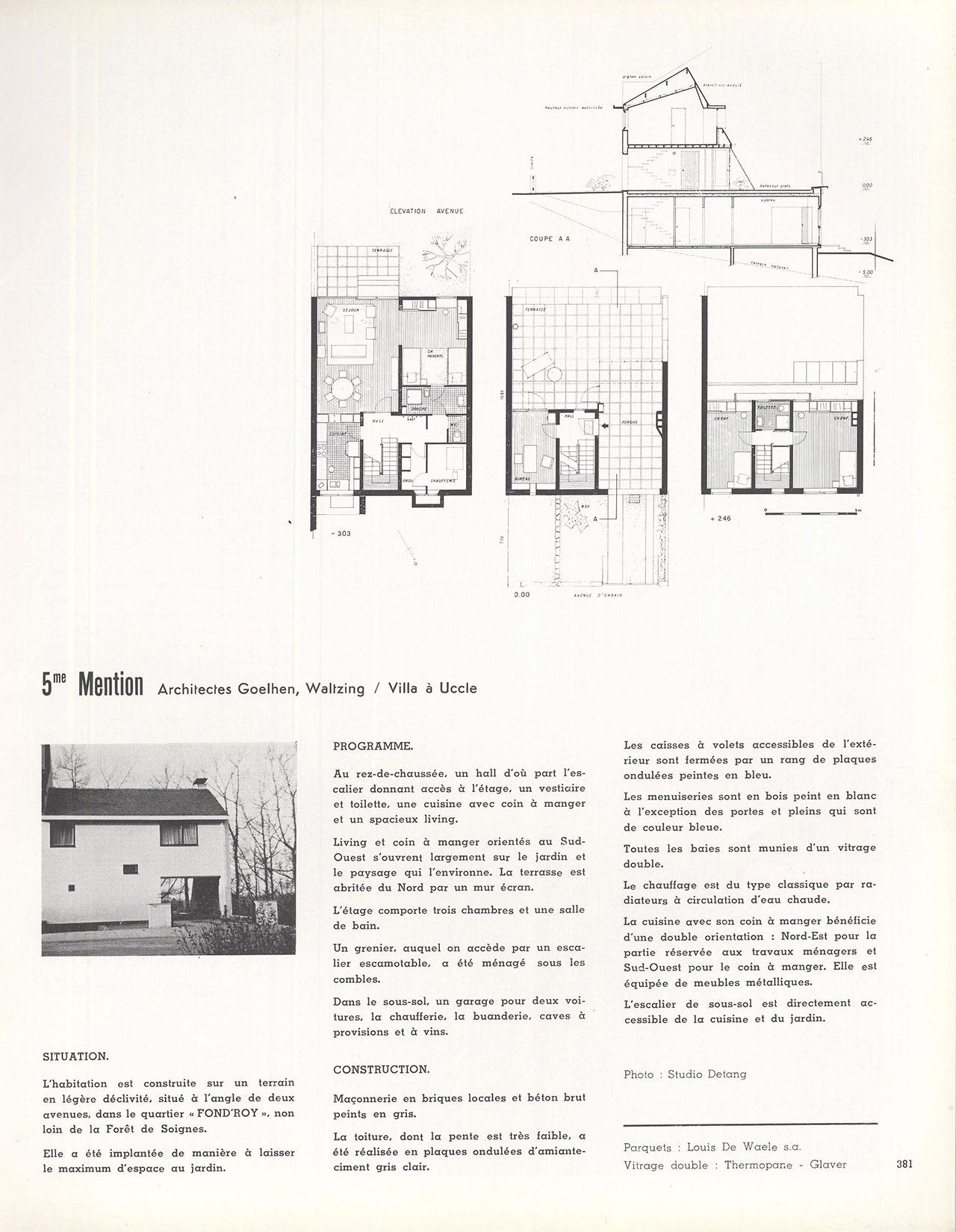 Habitation sur un talus à Uccle