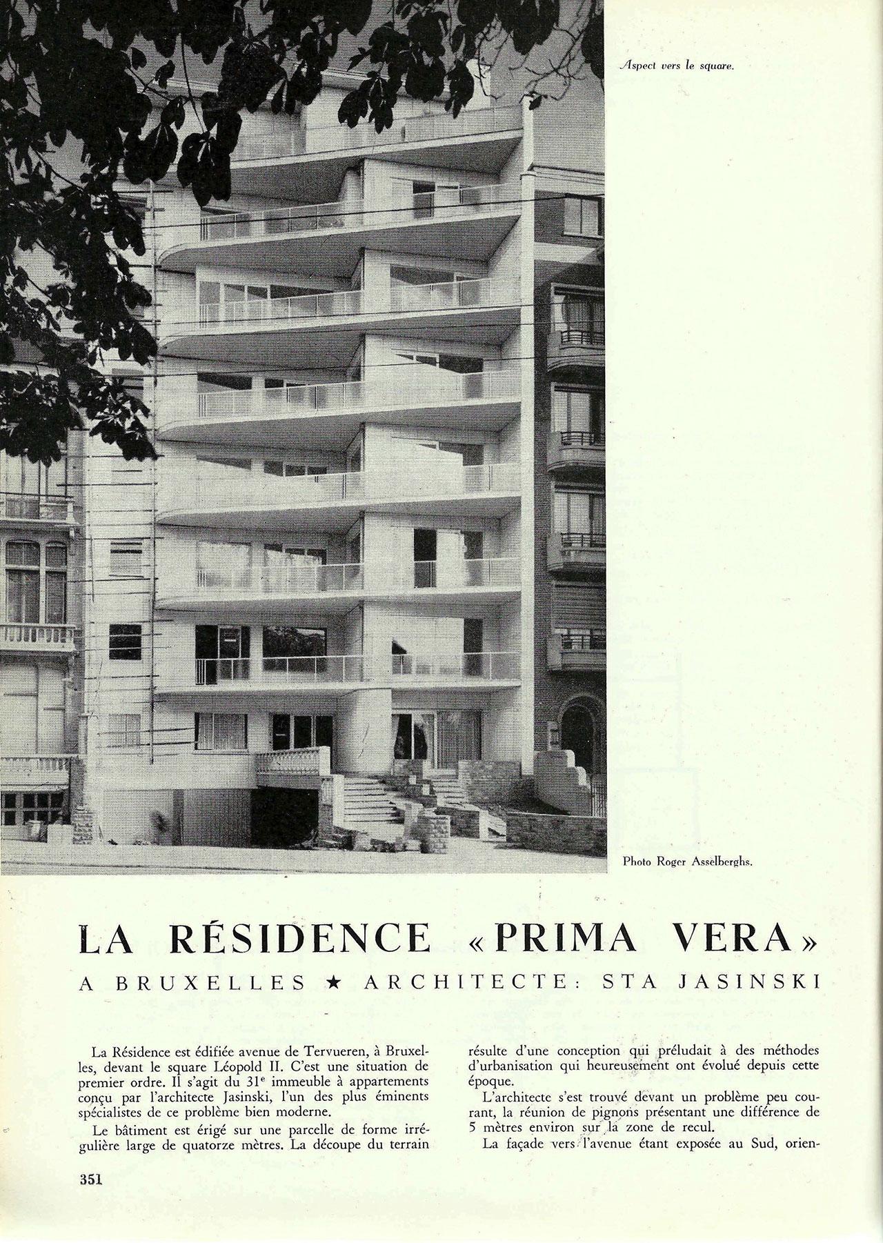 La résidence « Prima Vera » à Bruxelles